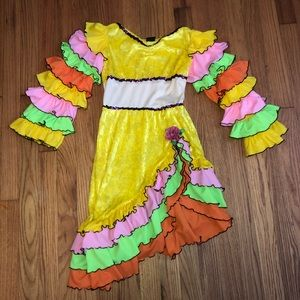Kids can can girl ruffle costume/dress